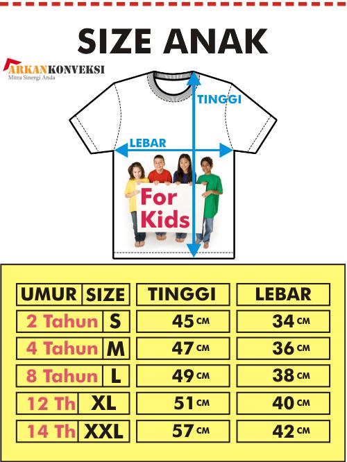 standar ukuran pakaian anak